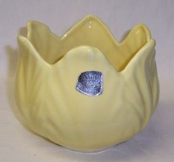 Camark Pottery Yellow 4 1/2 Inch Tall LOTUS Style VASE