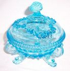 Westmoreland Glass Light Blue ARGONAUT SHELL CANDY DISH with LID
