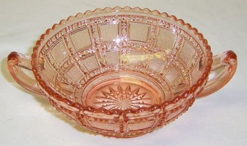 Imperial Glass Pink BEADED BLOCK Two Handled JELLY BOWL