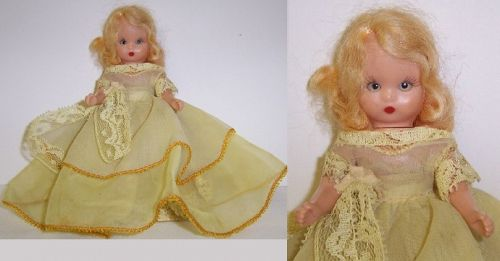 1952 NANCY ANN 5 1/2 Inch Sleepy Eye STORY BOOK DOLL, Yellow Dress