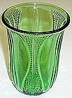 "Depression Glass Green TULIP 4 5/8"" TUMBLER-UNLISTED"