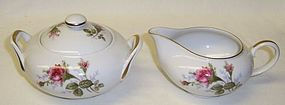 Sango China Japan MOSS ROSE CREAMER, SUGAR & LID