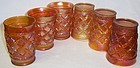 6-Dugan GRAPEVINE LATTICE 4 In CARNIVAL GLASS TUMBLERS
