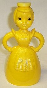 Vintage 1950s Yellow Plastic LADY SPRINKLING BOTTLE