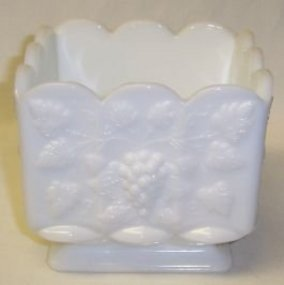 Westmoreland Milk Glass PANELED GRAPE 4 5/8 SQ PLANTER
