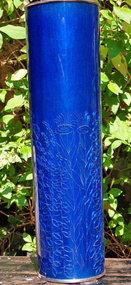 Japanese Ando silver cobalt blue cloisonne vase