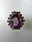 Ring, gold (9 kt), rhodinated, amethyst, diamonds