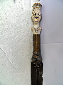 Double-edged Benin sword - gold, leopard skin