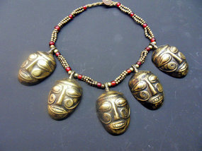 Necklace with five bronze heads and beads - Nagaland