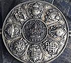 Large Tibetan Gau with Chenrezig; copper,silver,relics