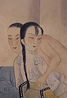 Chinese erotic water color painting