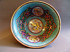 Cloisonne bowl with dragon and phoenix - China