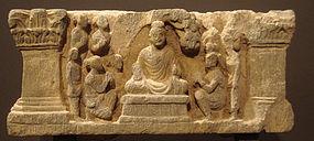 Gandhara Buddha grey schist panel