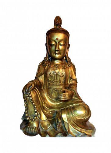 Chinese Ming gilt bronze Guanyin statue