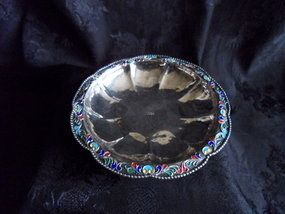 Pure silver bowl with lobbed enamel rim
