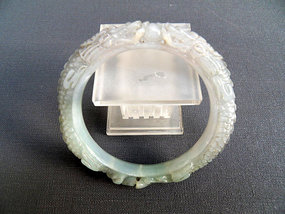 Burmese jade bangle, carved with two dragons