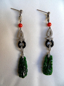 White gold earrings with diamonds, jade, onyx