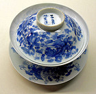 Japanese blue and white porcelain cup, saucer, lid