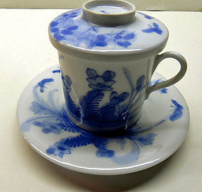 Japanese blue and white porcelain cup & saucer with lid