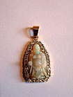 Opal Budai or Hotei pendant with gold and diamonds