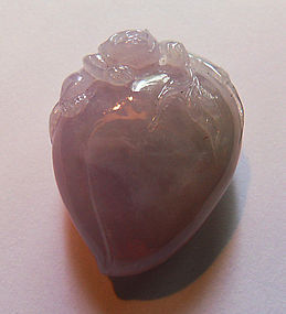 Lavender jade peach toggle or pendant with a monkey