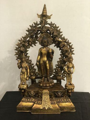 Bronze Tibetan Buddha with bodhisattvas and mandorla
