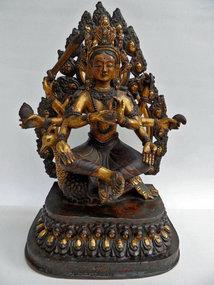 Gilt bronze statue of the protective goddess Mahamayuri