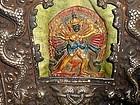 Large silver copper Tibetan gau with Kalachakra tsa tsa