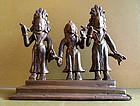 Small bronze Indian statue of Rama, Sita and Lakshman