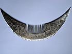 Massive silver Miao hair comb