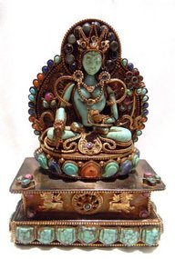 A very fine and richly decorated turquoise Tara statue