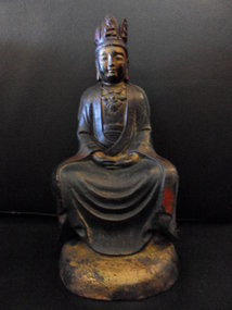 Chinese bronze statue of Buddha Maitreya in meditation