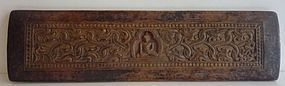 Tibetan wood carving book cover set with Buddha figure