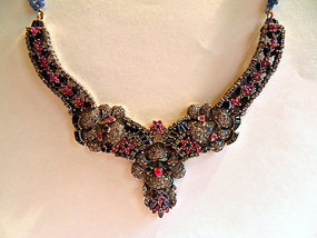 Gold and silver necklace - diamonds, ruby, sapphire