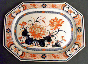 Chinese Imari dish with floral painting - Qianlong