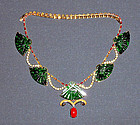 Antique jade pieces set in a gold necklace