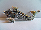 Sterling silver fish brooch with marcasite