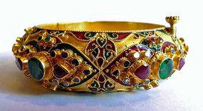 Gold enamel bracelet with emerald, ruby, diamond