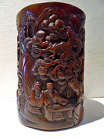 Bamboo brush pot with chess playing scholars