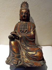 Chinese bronze Guanyin statue holding a ruyi