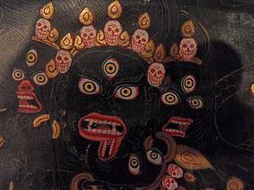 Tibetan black ground thangka of dharmapala Hayagriva