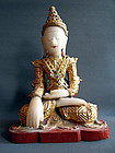 Burmese alabaster and gilt wood crowned Buddha statue