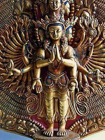 Gilt bronze statue of eleven headed Avalokiteshvara