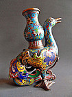 Cloisonne mythical bird with an ewer on its back