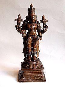 Antique Indian bronze Vishnu statue