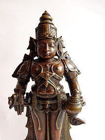 Antique Indian bronze statue of Vithoba or Vitthala
