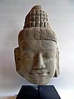 Khmer sandstone Buddha head