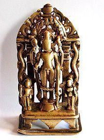 Indian bronze Vishnu altar piece or shrine
