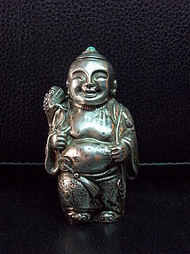 Silver Chinese snuff bottle in the form of a sage