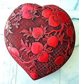 Chinese carved cinnabar box in the form of a peach